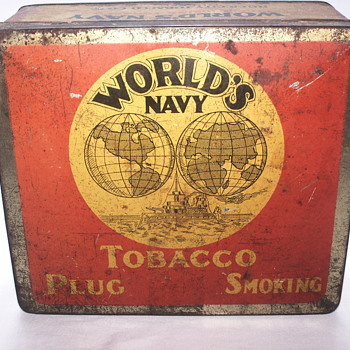 "World's Navy Tobacco Plug Smoking Tin Box""1920-30 - Tobacciana"