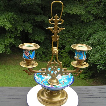 Antique French Longwy Candleholder
