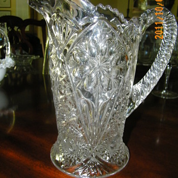 Press/Cut Glass Pitcher - Glassware