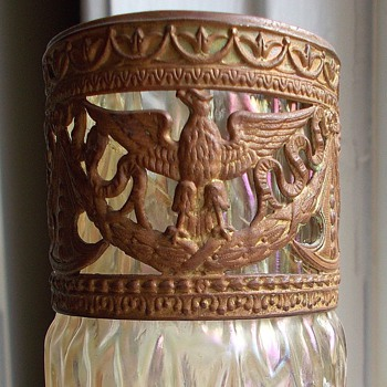 Kralik Martele MOP Iridescent Cranberry Applied Braid Brass Eagle Rim Vase