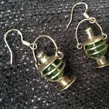 Silver and glass lantern earrings