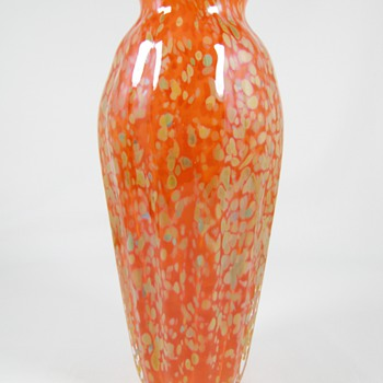 Beautiful Art Glass Vase Orange with Gold Splatter decor by Kelly Sheehan 2008 - Art Glass