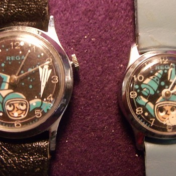 Double Animated Astronaut Wrist Watches - Wristwatches