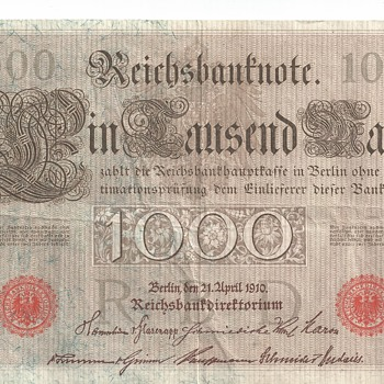 "1,000 Mark Reichsbanknote"" Imperial Germany "" Circa 1910"