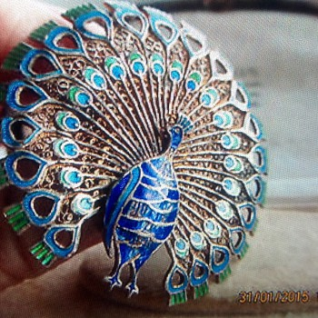Art Deco  silver filigree and enamel Peacock brooch