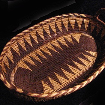 My Antique beautiful Apache double handled oval tray basket - Native American