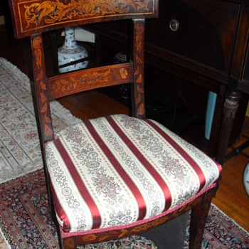 DUTCH Circa 19th Century [Neo-Classical]-form Fruitwood marquetry side chair - Furniture