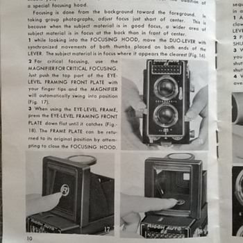 1961 to 1964- ricoh auto 66, twin lens camera, instructions manual.