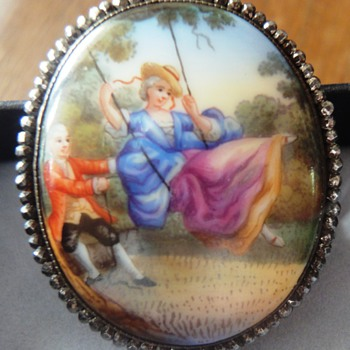 19s Porcelain handpainted Brooch  Rare cut steel frame