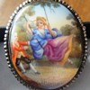 ANTIQUE GEORGIAN CUT STEEL PORCELAIN BROOCH C. 1820 (EARLY 19TH C)