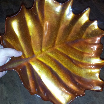 "My Lovely, ""Unmarked"" Marigold Irridescent Large Leaf-Shaped Centerpiece Dish"