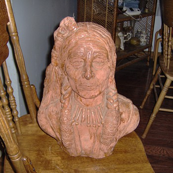 Old Terracotta Indian Bust - Art Pottery