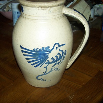Very Early Stoneware Pitcher with Bird