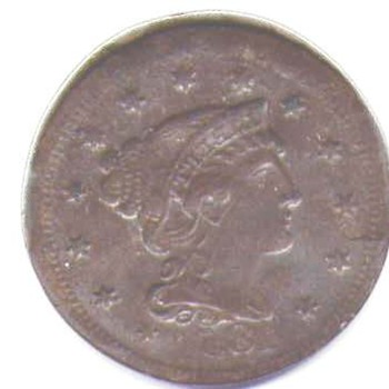 1854 one cent reversed image