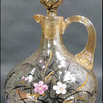 Fritz Heckert Enameled Crackle Glass Decanter