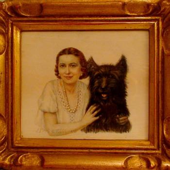 Jeanne Thil Miniature Painting On Ivory 1937 France - Visual Art
