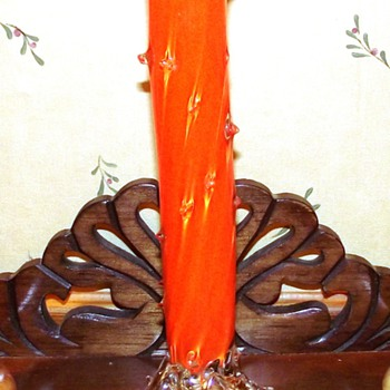 """Ruckl""? Orange Thorn Vase - Art Glass"