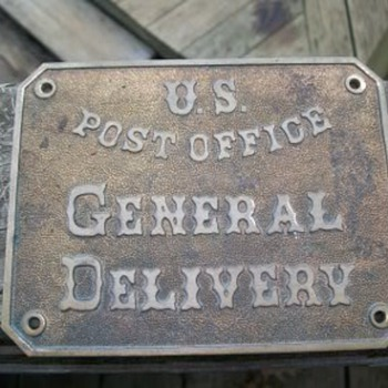 1860s US Post Office General Delivery brass sign
