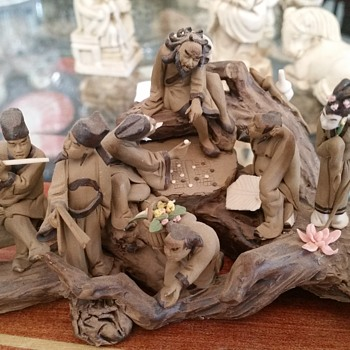 Antique Chinese Mud People scene Amazing detail
