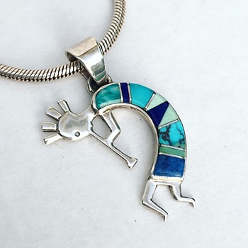 Vintage Native American Sterling Silver Kokopelli Necklace Turquoise Stone Inlay - Fine Jewelry