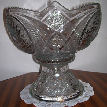 Possible American Brilliant Cut Glass Compote, Footed Bowl, or Punchbowl ??????? - Glassware