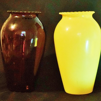Anchor Hocking Royal Ruby  Glass Vase Hoover in Fired-on ware in Yellow? - Glassware