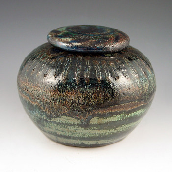 1900-05 André Methey Flambé Glazed Faience Pot/Inkwell - Art Nouveau