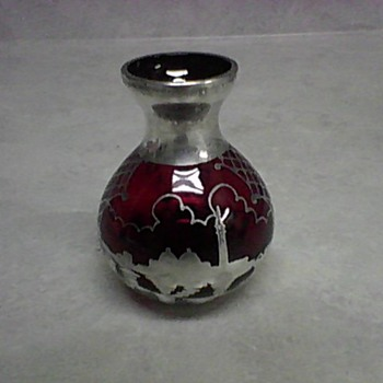 SILVER OVERLAY CRANBERRY GLASS BOTTLE