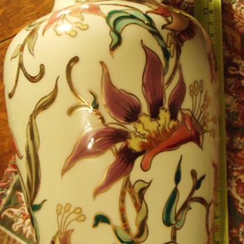 Hungary  Zsolnay 14 inch Vase, from thrift store,  know nothing about it, but pretty!! - Art Pottery