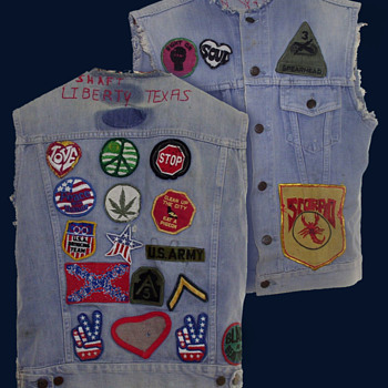 #29 ~ Early 1970's Patched Hippie Motorcycle Denim Vest from Liberty TX - Mens Clothing