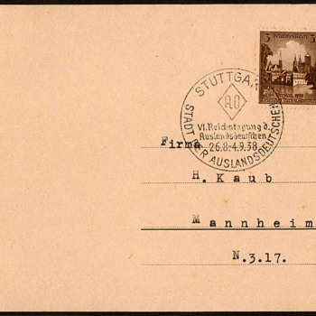 "1938 - German ""Breslau"" Stamped Postal Card"