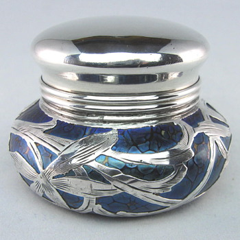 Loetz Cobalt Papillon on Rubin Sterling Overlay Pillbox - Art Glass