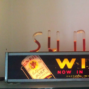 Sun Kist Wine bubble light sign.