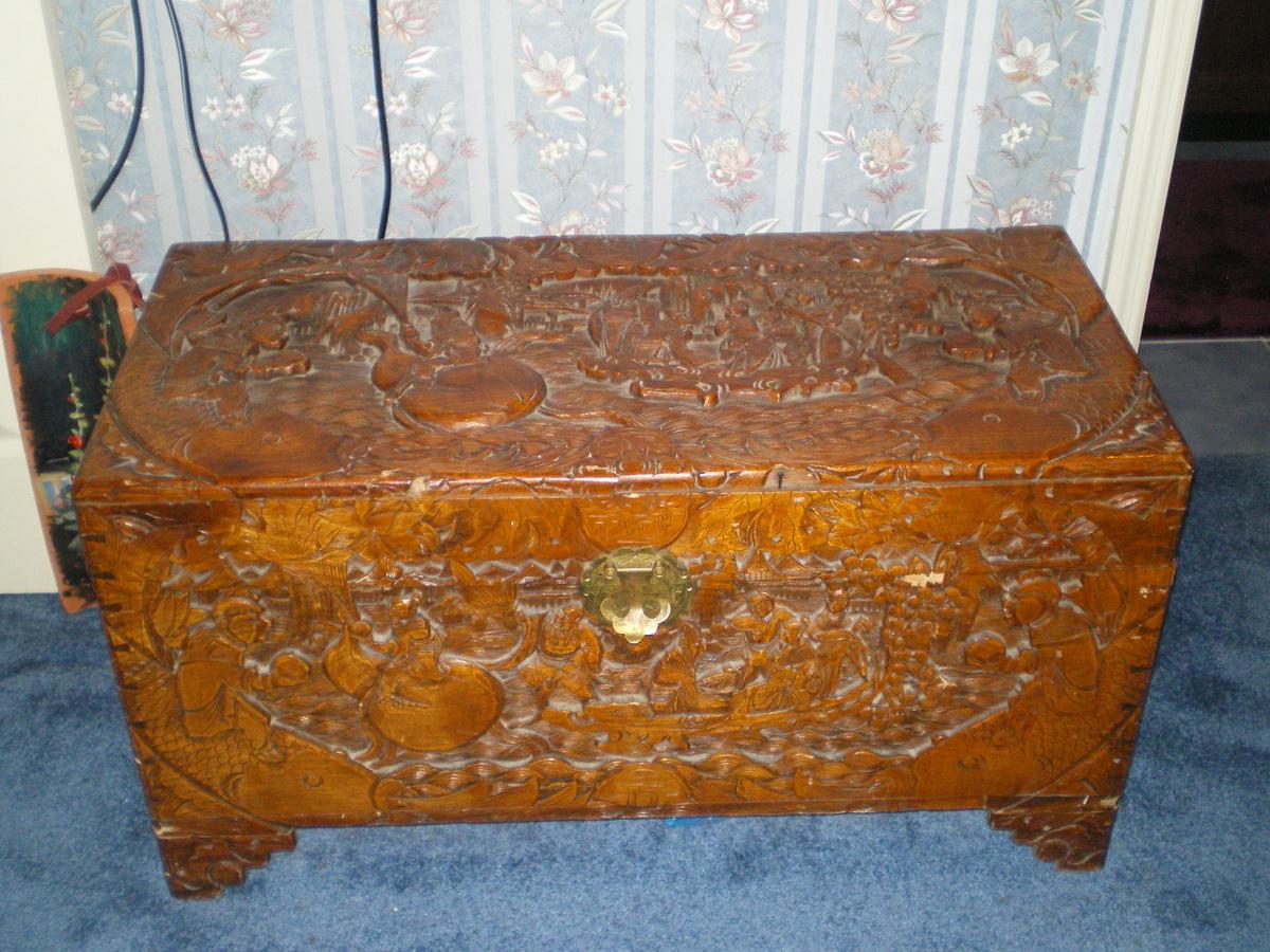 asian carving cedar chest antique