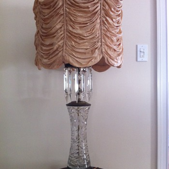 Table lamp, bronze and crystal with silk shade