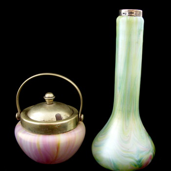 Rindskopf Marbled Vase and Mustard Pot Set - Art Nouveau