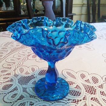 Fenton Glass Colonial Blue Ruffle Thumbprint Pedestal Bowl (no mark) - Glassware