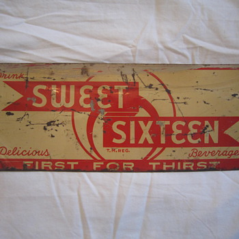 Old Metal Drink Sweet Sixteen Delicious Beverages Soda Pop Detroit Michigan First for Thirst T.M. Reg Advertising Steel Sign