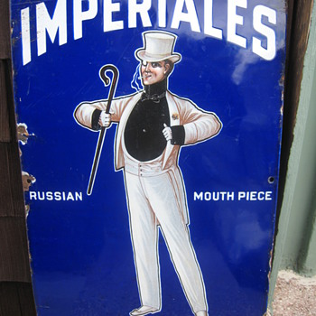 Imperiales Cigarettes Porcelain Sign - Tobacciana
