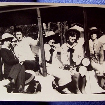 FLAPPERS, and VINTAGE car,touring car, trolley car,etc-JUST GOOD TIMES 1920s,)Original Photos - Photographs