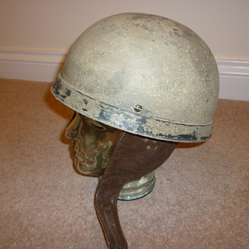 Early British WWII dispatch riders steel helmet. - Military and Wartime