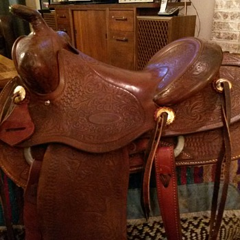 Vintage Custom Western Saddle  by Frank Vela Floresville Texas 1950's  - Outdoor Sports