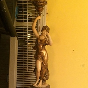 Antique goddess floor lamp