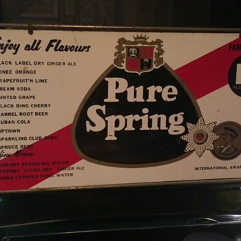 VINTAGE PURE SPRING BEVERAGES METAL SIGN! - Advertising