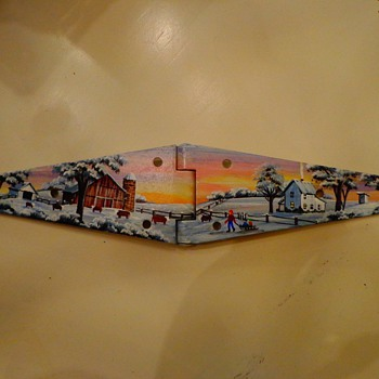 "D. Carter Handpainted ""Farm"" on a Farm Door / Gate Metal Strap Hinge - Folk Art"