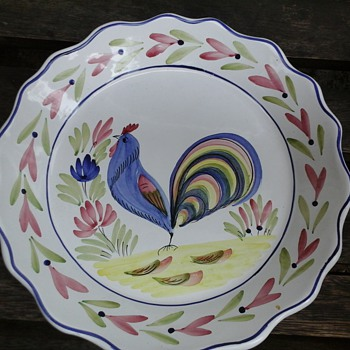 French Blue Rooster plate (QUIMPER)?? - Art Pottery