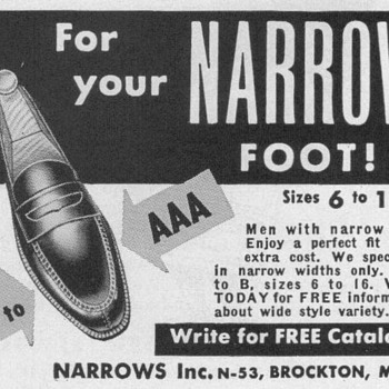 1953 - Narrows Shoes Advertisement - Advertising