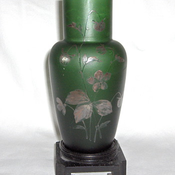 Old Goldberg Green Satin Glass Floral Silver Overlay Vase