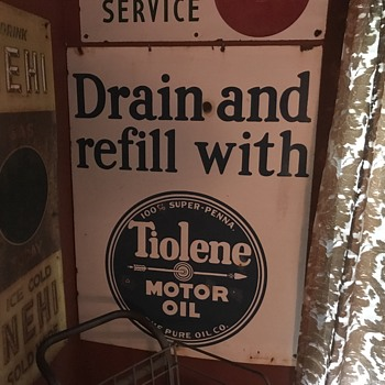 1920's  Tiolene Motor oil Drain and refill Porcelain sign