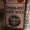 1920's  Tiolene Motor oil Drain and refill Porcelain sign